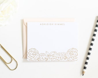 Handmade Real Gold Foil, Rose Gold Foil Personalized Stationery | Mother's Day Gift | Gold Foil Floral Customized Stationary | Wedding Gift