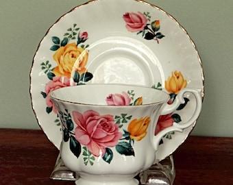 Royal Albert China Pink Roses Tea Cup and Saucer Set