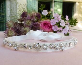 Swarovski headband, Pearl headband, Pearl and crystal headband, wedding headband, bridal headband,  jeweled headband, beaded headband