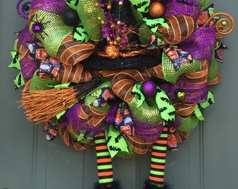 Whimsical Halloween Witch Wreath