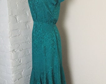 Vintage teal blue floral silk dress