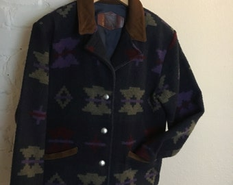 SALE: Vintage Wool Jacket / Suede Collar / Made in U.S.A