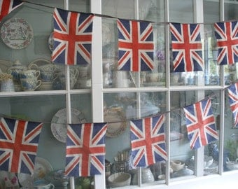 Vintage Union Jack bunting c1930s-1950s, 18 printed cotton flags, British Made