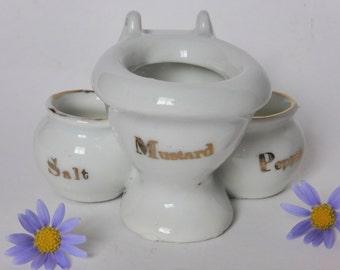 Humorous Mid Century Toilet Mustard Pot + Salt and Pepper Pots ~ 1950s Knick Knack ~ Funny Decor ~ Vintage Curio ~ Retro Tableware ~ Japan