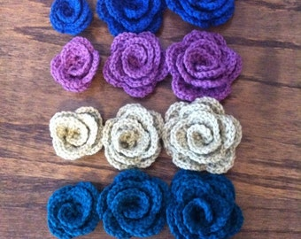 Mixed Lot of 12 Crochet Rosette Roses Embellishments
