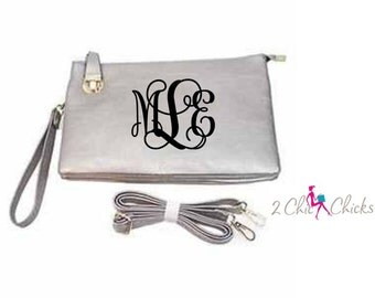 Monogram Crossbody Purse with buckle closure , monogram clutch, monogram handbag, bridesmaids gift, crossbody bag embroidered purse