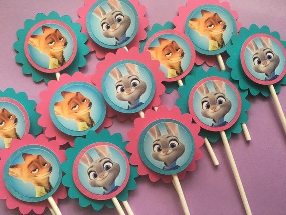 Zootopia Birthday Party Cupcake Toppers in Pink And turquoise Girls ...