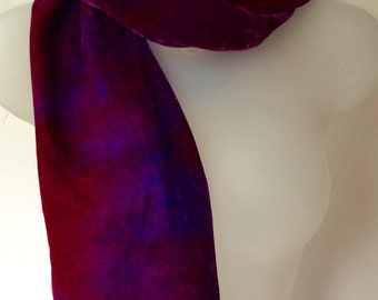 Burgundy and Purple scarf, hand painted silk velvet scarf