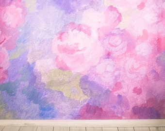 Newborns Photography Backdrop, Watercolor painted floral photo background, Children shabby chic watercolor rose photodrops XT-4751