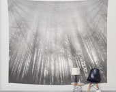 wall tapestry, large size wall art wall decor, photo tapestry, woodland tapestry, grey gray black white wicca wiccan nature zen trees