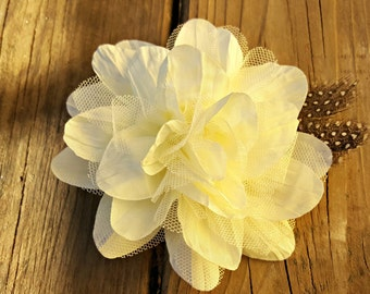 Cream Fabric Flower, Hair Accessory, Girls Hair Flower, Wedding Flower, Photo Prop, Prom Flower, Cream Flower, Spring Flower, Flower clip