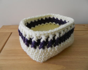 Rectangular Basket in Cream and Purple
