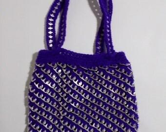Vintage Purple Pull Tab Purse Crochet Lined Tote Soft Drink Pull Ring Soda Beer Pop Shoulder Bag