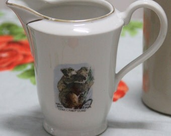 Vintage 1960's Souvenir Phillip Island NSW Small China Milk Jug/Creamer -  Koala's