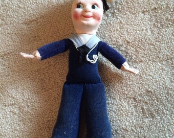 Vintage 1950's White Star Cunard Queen Elizabeth Cloth Sailor Doll - (Penny Nesbit- Norah Welling)