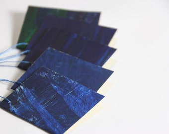 Hand painted favor tags, paper tags - Deep Ocean - gift tag / pack of 5 / original abstract art / blank inside / acrylic paint on card