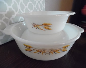 Fire King Vintage Golden Wheat  X 2 Casseroles and Bowl