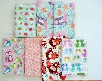 Girls Cotton Flannel Fabric Scraps/ Girls Cotton Flannel Fabric Remnants (#03)