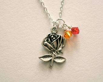 Beauty and the Beast Flower Necklace-Tale as Old as Time-Belle-Beast-Rose Necklace