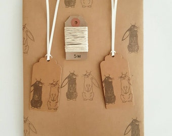 Gazing Bunnies Gift Wrap Set (Essentials Option): 1 Sheet of Rabbits Kraft Wrapping Paper, 2 Gift Tags & 5m Twine.