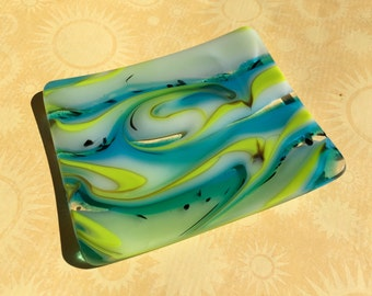 Fused Glass Dish with Swirls of Color