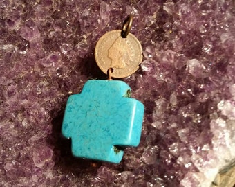 Indian Head Penny, Faux Turquoise pendant. ...
