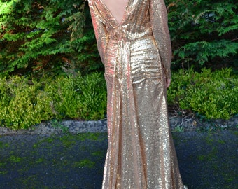 Ready to Wear 'Helena' gown vintage-inspired full sequin prom dress with plunging neckline and long sleeves