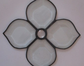 Stained Glass Flower Suncatcher with Faceted Jewel