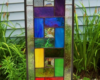 NEW- Rainbow Colors & Beautiful Bevels- Geometric-Stained Glass Panel. 20in X 6 1/2in