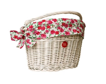 White Wicker Bike Basket Bike Belle with Retro Roses liner