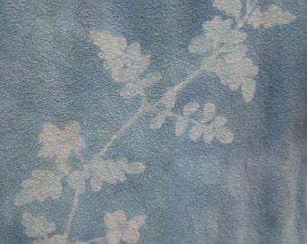 Hand-dyed batik shirt with jasmine plant