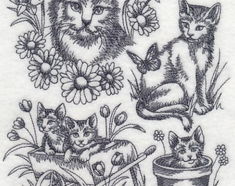 Embroidered Sketch of Kittens/Embroidered Kittens Tea/Kitchen Towel