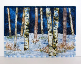 Fabric Art Postcard, Birch Trees, Winter, Snow, Quilted Postcard, Textile Art Birches, Mini Art Quilt, Landscape Quilt Birch Trees, Collage