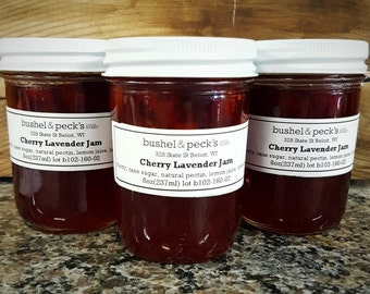 Small Batch Handmade Cherry Lavender Jam - Three 8 oz Jars
