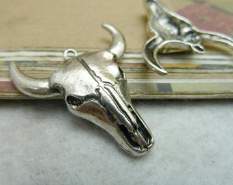 10pcs 28x31mm antique silver ox-head cow skull charm, cow head pendant setting Jewelry findings wholesale BC6760