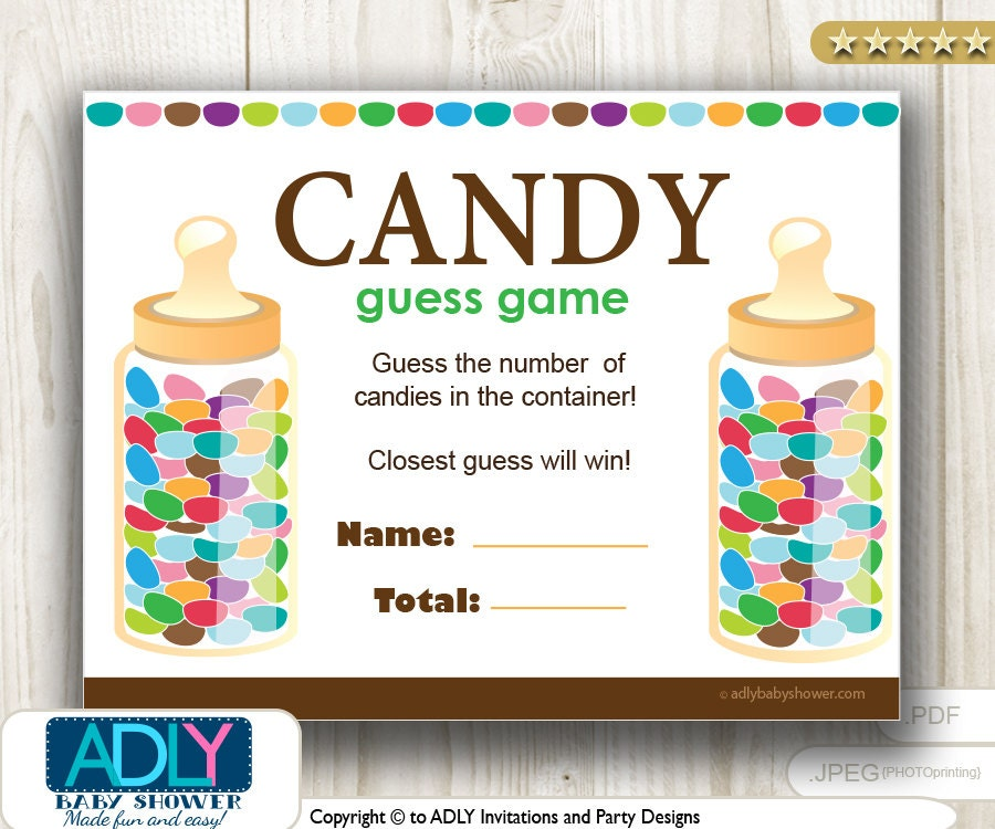 Candy Baby Shower Game: Guess Candy Game For Baby Shower Printable Fun Baby Shower
