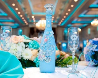 Quinceanera Custom Made Champagne Bottle and Glass Set