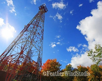 Tall Communication Cell Tower | Architecture Landscape Photography | Blue Sky Art | Autumn Color | North Woods | Colorful Trees | Cell Print
