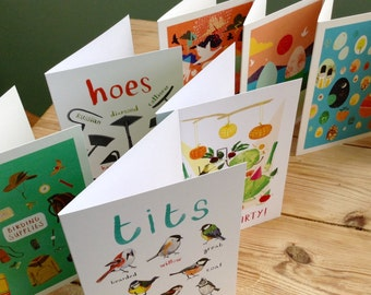 Set of 5 greetings cards - mix and match - illustrated cards