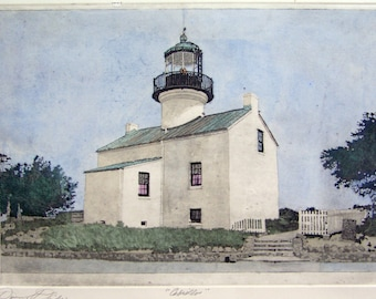 Cabrillo....  Point Loma Lighthouse  /etching