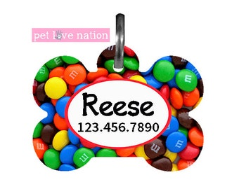 Personalized Pet Tag, Dog Tag, ID Tag, Candy MM's Pet Tag With Name And Phone Number