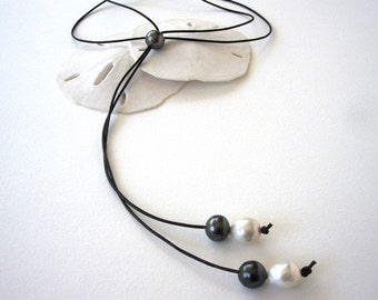 Tahitian Black Pearl Leather Lariat Necklace, Flameball Pearl Necklace, Leather and Pearls Jewelry, Pearl and Leather Choker Necklace