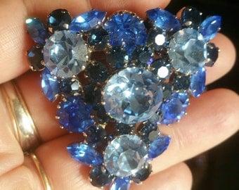 Made in Austria Blue rhinestone pin