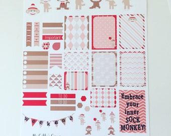 Weekly Planner Sticker Set Sock Monkey