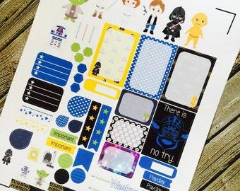 Galaxy Wars Planner Stickers, Weekly Planner Sticker Set, for use with Erin Condren Life Planner, Happy Planner