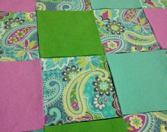 KIT or PRE-BUY -  Car Seat Cover/Canopy or Quilt - Lilac/Green/Teal Paisley Print - Cotton Flannel Rag Quilt