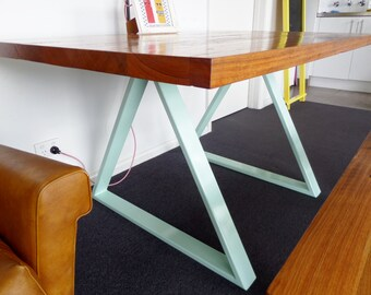Triangular table legs. The perfect height for a dining table. Powder coated in a colour of your choice.