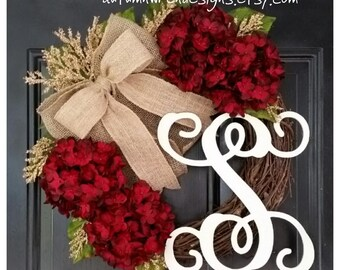 EVERYDAY Wreath, Red Hydrangea Wreath, Red Wreath with Burlap Bow