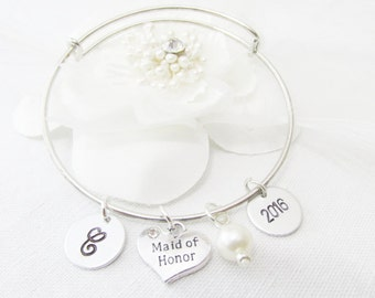 Gifts For Maid Of Honor, Silver Personalized Maid Of Honor Adjustable Bangle Bracelet, Initial and Wedding Date Bracelet, Bridal Party Gifts