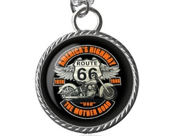 Route 66 Necklace, Biker Necklace, Americas Highway, The Mother Road, Motorcycle Image Pendant Key Chain Handmade